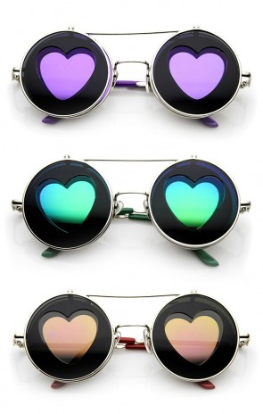 Flip-up Color Mirrored Heart Cut-out Flash Lens Sunglasses