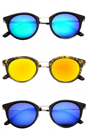 Retro Flash Mirror Horn Rimmed Metal Temple Round Sunglasses