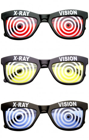Novelty X Ray Vision Mad Scientist Horned Rim Sunglasses