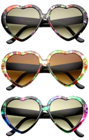 Cute Womens Floral Print Heart Shape Oversize Sunglasses