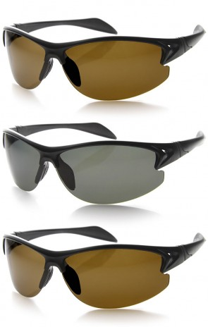 Polarized Lens Lightweight Semi-Rimless Premium Sports Wrap Sunglasses