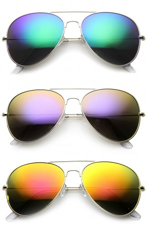 Classic Metal Teardrop Color Mirror Lens Aviator Sunglasses w/ Spring Hinges