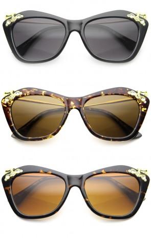 Designer Elegance High Templed Cat Eye Sunglasses w/ Rhinestones