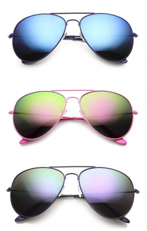 Classic Teardrop Color Coated Frame Flash Mirror Lens Metal Aviator Sunglasses 58mm