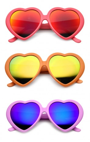 Womens Oversized Color Flash Mirror Lens Love Heart Shape Sunglasses