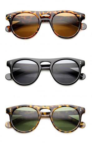 Dapper Euro Fashion Flat Top P3 Shape Keyhole Bridge Round Sunglasses