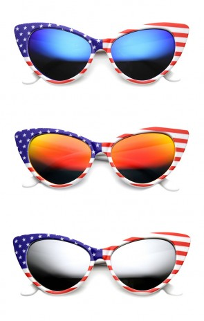American Flag Patriotic Stars and Stripes Flash Mirrored Super Cat Eye Sunglasses
