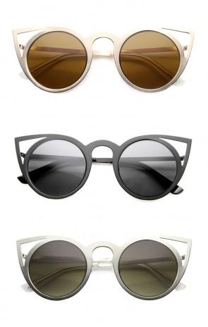 Womens High Fashion Full Round Metal Cut-Out Cat Eye Frame Sunglasses