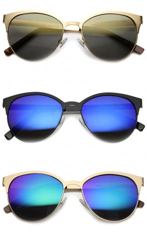 Mens Cat Eye Sunglasses With UV400 Protected Mirrored Lens