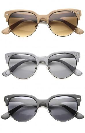 Mens Semi-Rimless Sunglasses With UV400 Protected Gradient Lens
