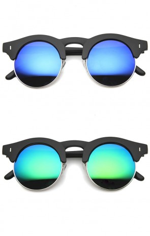 Mens Semi-Rimless Sunglasses With UV400 Protected Mirrored Lens