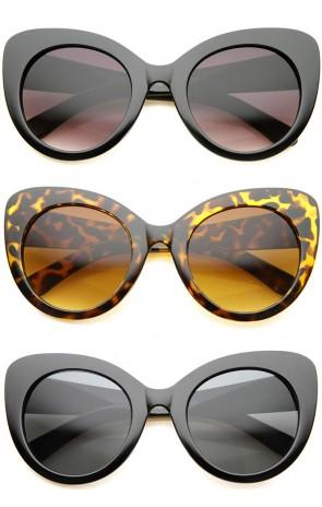 Retro Oversize Mod Chunky Frame Cat Eye Sunglasses 55mm