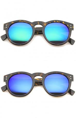 Retro Keyhole Nose Bridge Color Mirror Lens Round Horn Rimmed Sunglasses 48mm