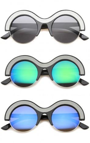 Futuristic Bold Semi-Rimless Two-Tone Thick Brow Round Sunglasses 49mm