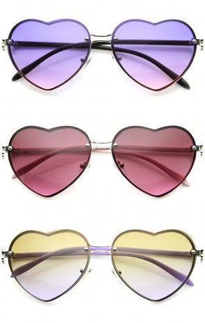 Women's Rimless Frame Flower Accent Heart Shape Oversize Sunglasses 62mm