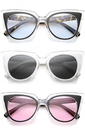 Women's Fashion Two-Tone Crystal Clear Edged Cat Eye Sunglasses 51mm