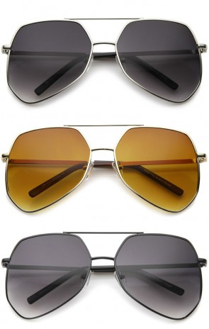 Modern Oversized Metal Brow Bar Thin Temple Geometric Aviator Sunglasses  60mm