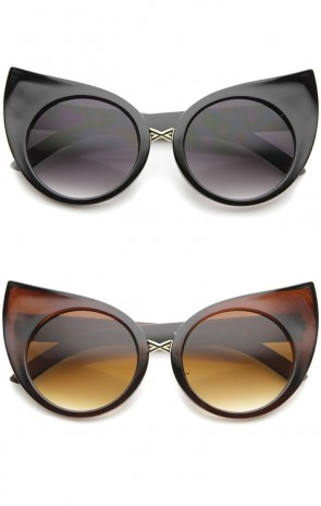Women's Fashion Exaggerated Curved Round Cat Eye Sunglasses 51mm
