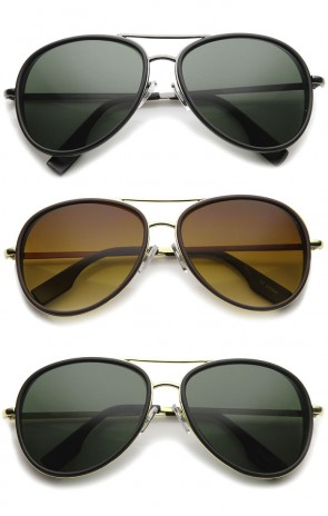 Retro Matte Side Cover Flat Lens Two-Tone Metal Crossbar Aviator Sunglasses 60mm