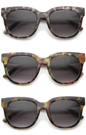 Women's Oversize Block Tortoise Print Square Horn Rimmed Sunglasses 53mm