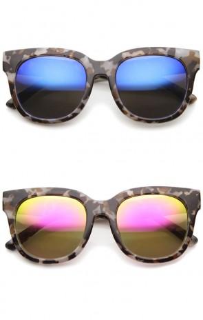 Oversize Block Tortoise Print Mirror Lens Square Horn Rimmed Sunglasses 53mm