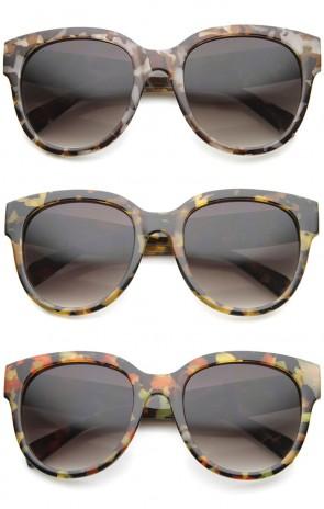 Oversize Block Tortoise Thick Frame Round Horn Rimmed Sunglasses 55mm