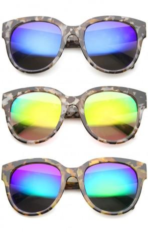 Oversize Block Tortoise Thick Frame Mirror Lens Round Horn Rimmed Sunglasses 55mm