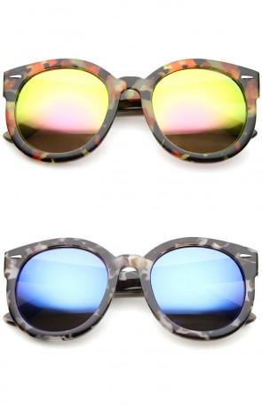 Modern Block Tortoise Thick Frame Mirror Lens Oversize Round Sunglasses 52mm