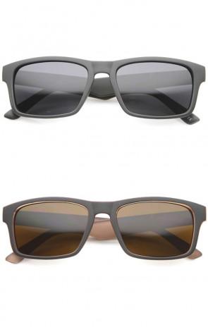 Action Sport Horn Rimmed Tinted Lens Matte Rectangle Sunglasses 55mm