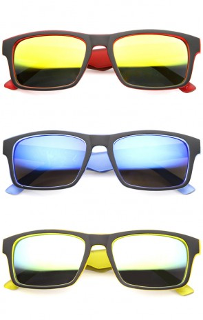 Action Sport Two-Toned Horn Rimmed Frame Color Mirror Lens Matte Rectangle Sunglasses 55mm