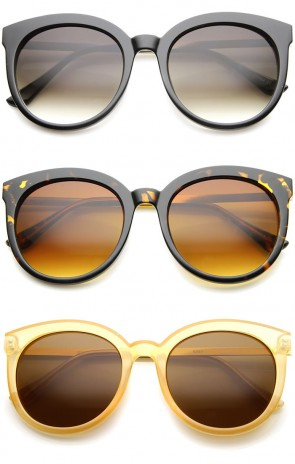 Modern Metal Temple Tinted Lens Oversize Round Horn Rimmed Sunglasses 55mm