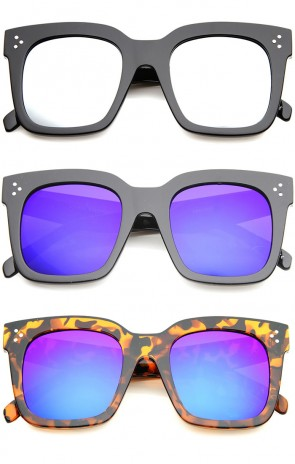 Bold Oversize Flat Mirror Lens Square Horn Rimmed Sunglasses 51mm