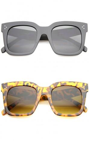 Bold Oversize Tinted Flat Lens Square Horn Rimmed Sunglasses 51mm