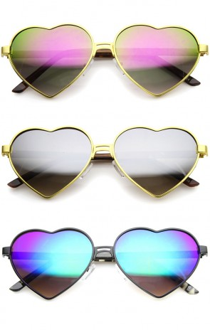 Womens Cute Fashion Wire Metal Inset Lens Love Lolita Heart Shaped Sunglasses