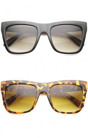 Bold Flat Top Tinted Lens Oversize Square Sunglasses 54mm