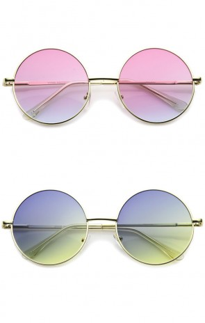 Bohemian Full Metal Frame Gradient Flat Lens Oversize Round Sunglasses 54mm