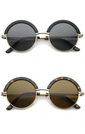 Mod Fashion Oversize Half-Frame Brow Eyelid Round Sunglasses 50mm