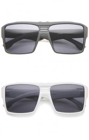 Men's Modern Casual Flat Top Wide Temple Rectangle Aviator Sunglasses 57mm