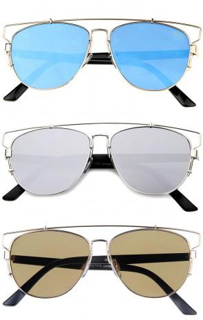 Technologic Full Metal Crossbar Flash Mirror Flat Lens Aviator Sunglasses 54mm