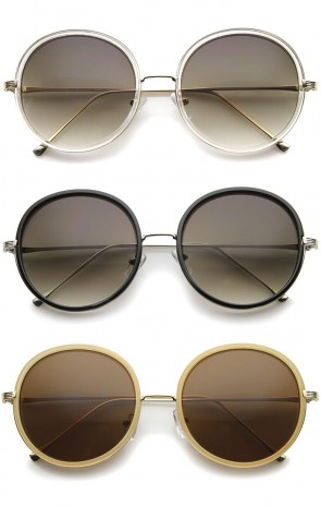 Retro Fashion Metal Temple Two-Tone Oversize Round Sunglasses 53mm