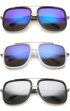 Modern Brow Bar Color Mirror Lens Oversize Square Aviator Sunglasses 59mm