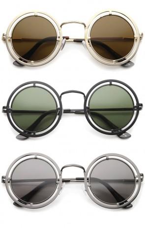 Futuristic Metal Cutout Frame Flat Lens Oversize Round Sunglasses 44mm