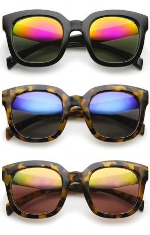 Bold Oversize Chunky Frame Horn Rimmed Mirror Lens Square Sunglasses 53mm