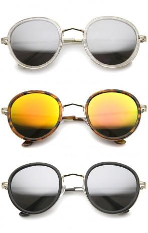 Classic Dapper Side Cover Colored Mirror Lens Round Sunglasses 52mm