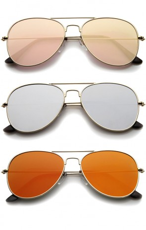 Classic Double Bridge Colored Mirror Flat Lens Aviator Sunglasses 55mm