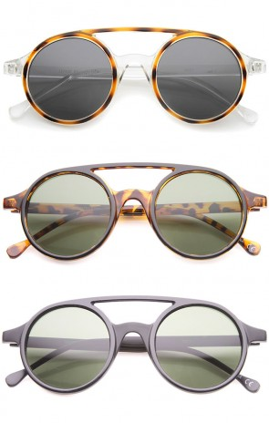 Retro Fashion Dapper Double Bridge Round Lens Aviator Sunglasses 47mm