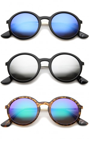 Mid Sized Modern Metal Temple Mirror Lens Round Sunglasses 49mm