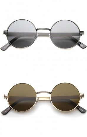 Retro Fashion Metal Textured Frame Flat Lens Round Sunglasses 50mm