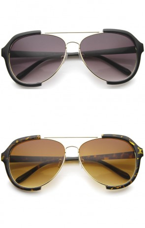 Modern Oversize Metal Crossbar Semi-Rimless Aviator Sunglasses 62mm