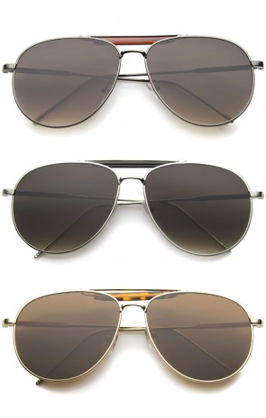 Classic Retro Metal Wire Teardrop Flat Lens Crossbar Aviator Sunglasses